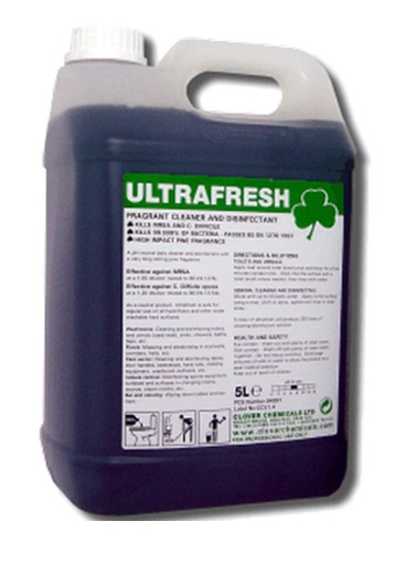 Clover Ultrafresh Fragrant Cleaner and Disinfectant KILLS MRSA AND C. DIFFICILE.